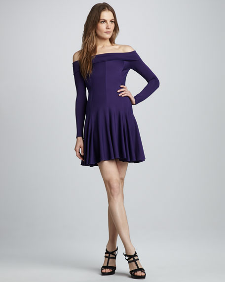 Off-The-Shoulder Dress, Eggplant