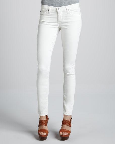 Super-Skinny Ecru Velvet Leggings