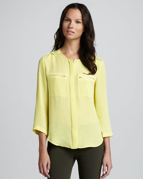 Brundia Zip-Pocket Blouse