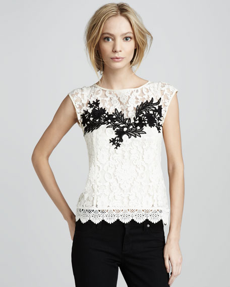 Good Fortune Embroidered Lace Top