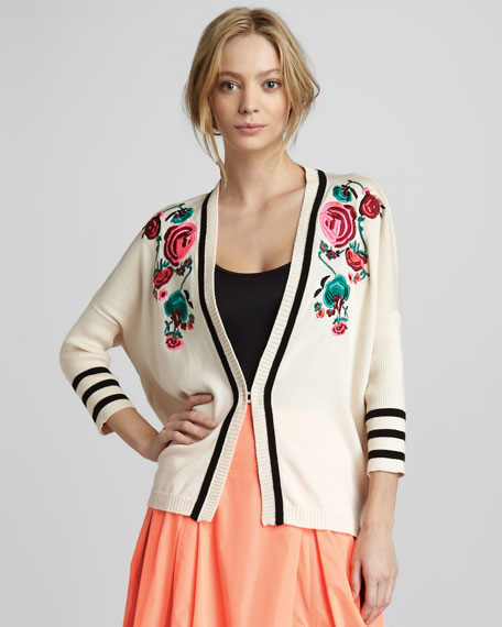 Tea Ceremony Embroidered Cardigan