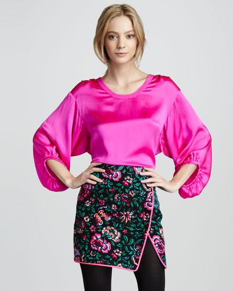 Blossom-Print Wrap Skirt