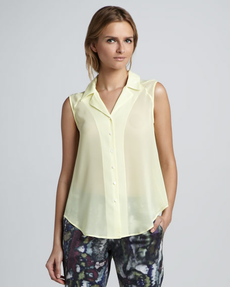 Badge Sleeveless Sheer Blouse