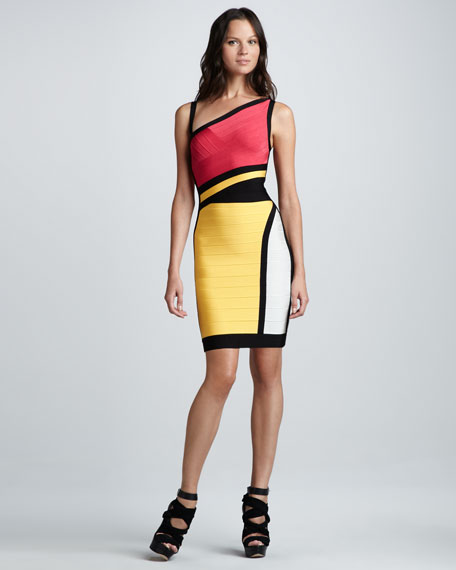 Cutout Colorblock Bandage Dress