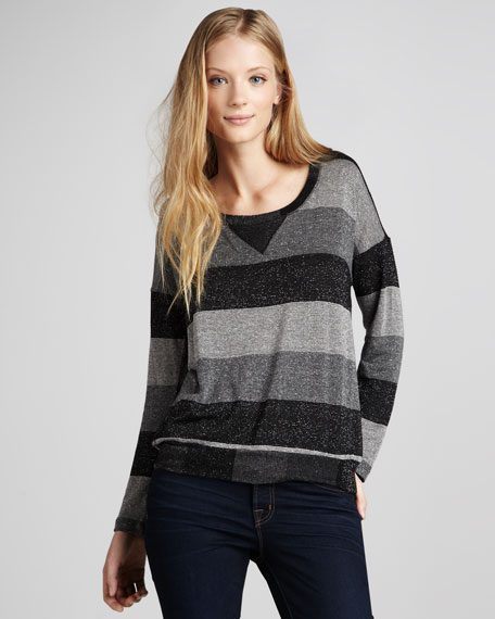 Shimmery Wide-Stripe Sweater