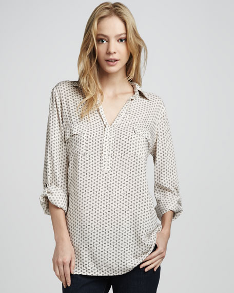 Long Dot-Print Georgette Blouse