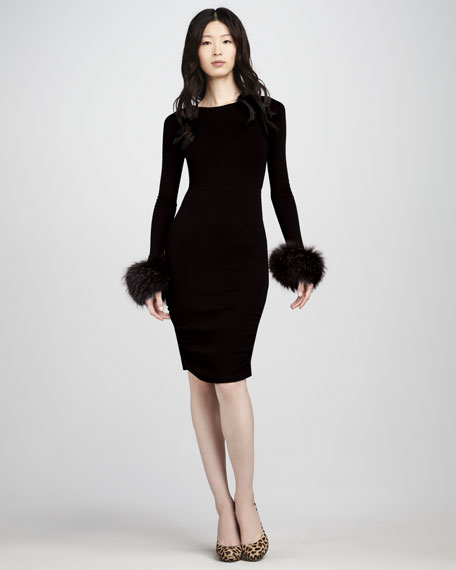 Alesia Fur-Cuff Dress