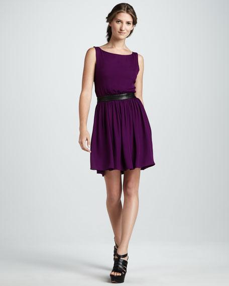 Nell Leather-Waist Dress