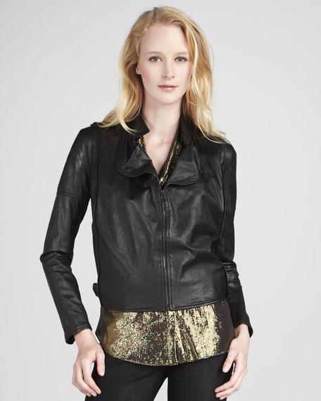 Crinkled Leather Tie-Hem Jacket