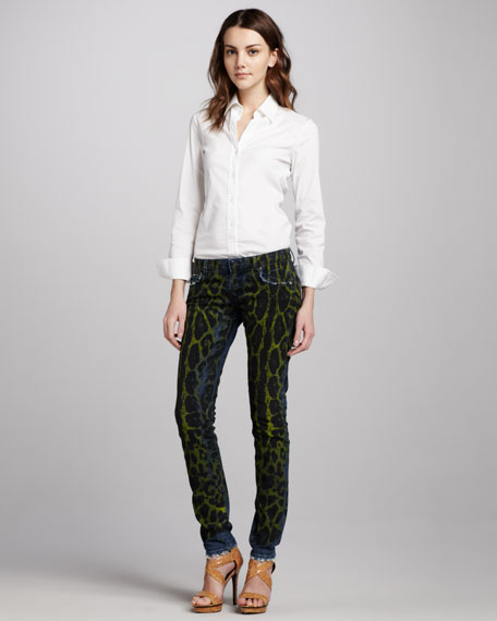 Snake-Print Jeans, Yellow
