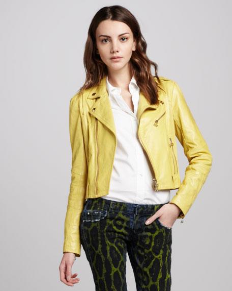Leather Moto Jacket, Yellow
