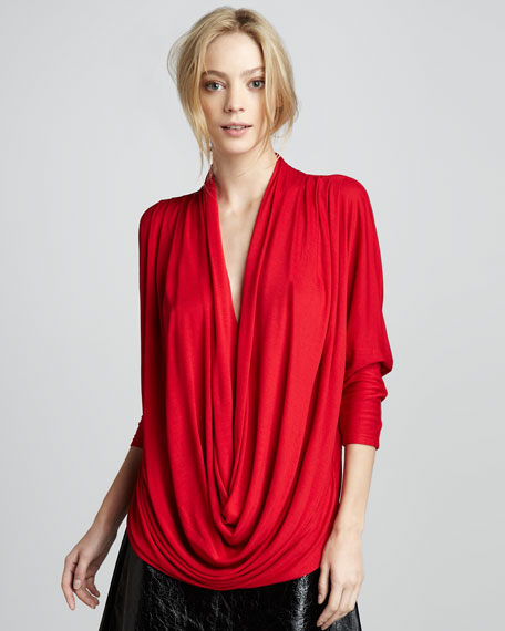 Draped-Front Slouchy Tee