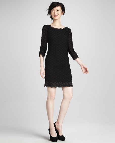 Tesla Three-Quarter Sleeve Lace Dress