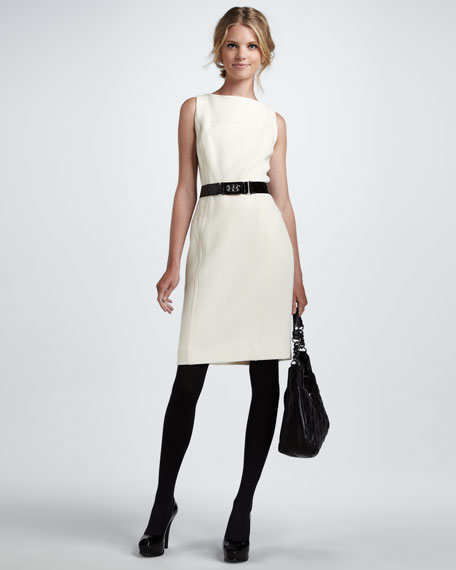 Belted Sheath Dress, Ecru
