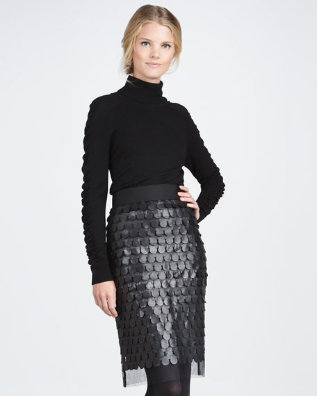 Leather-Paillette Pencil Skirt
