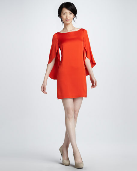 Butterfly-Sleeve Minidress, Poppy