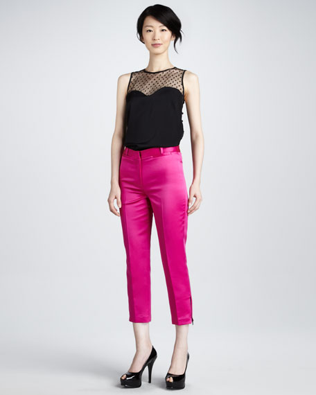 Satin Ankle-Zip Pants