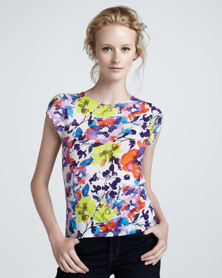 Floral-Print Knit Top