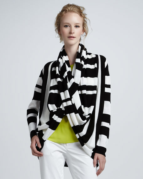 Striped Wrap Cardigan