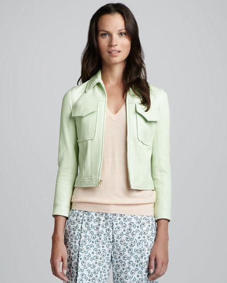 Vika Leather Flap-Pocket Jacket, Light Green