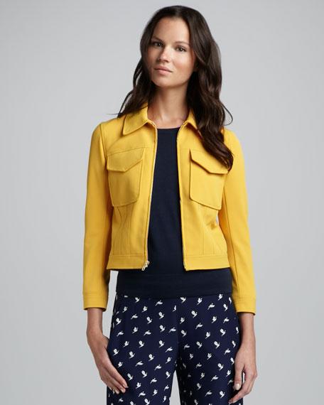 Vika Flap-Pocket Jacket, Saffron