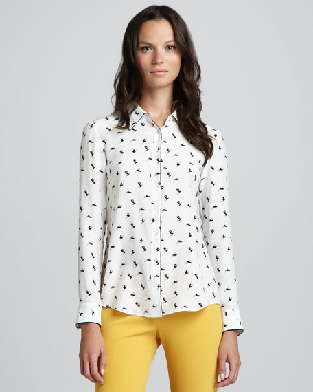 Cully Egret Printed Blouse