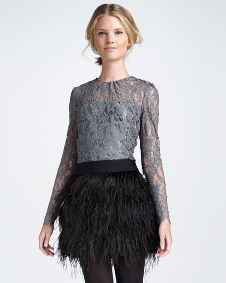 Ivy Sheer-Top Lace Blouse, Gray