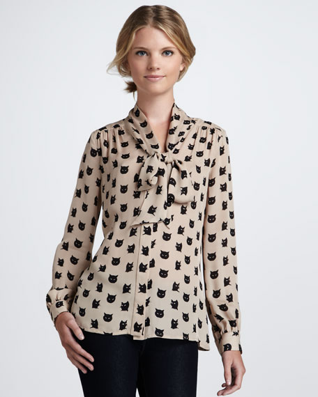 Tie-Neck Cat-Print Blouse