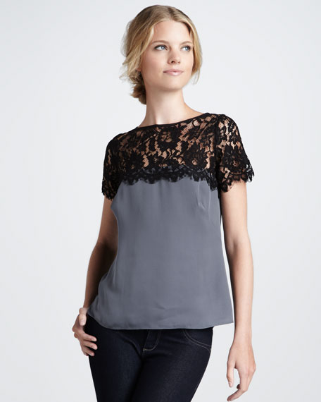 Mila Lace-Top Blouse, Gray