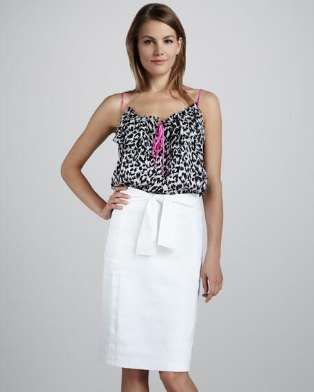 Tie-Waist Shantung Skirt