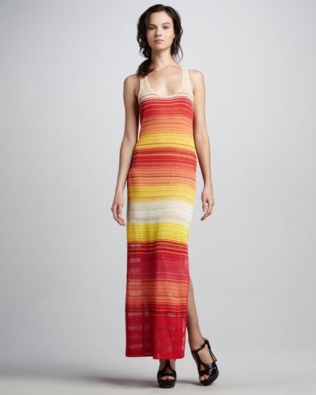 Knit Striped Racerback Maxi Dress