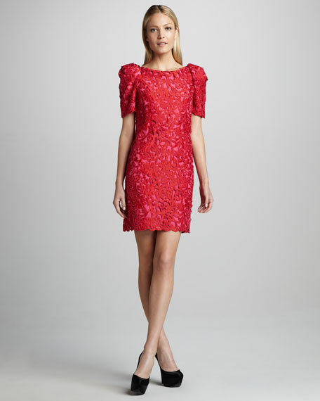 Puff-Sleeve Lace Dress