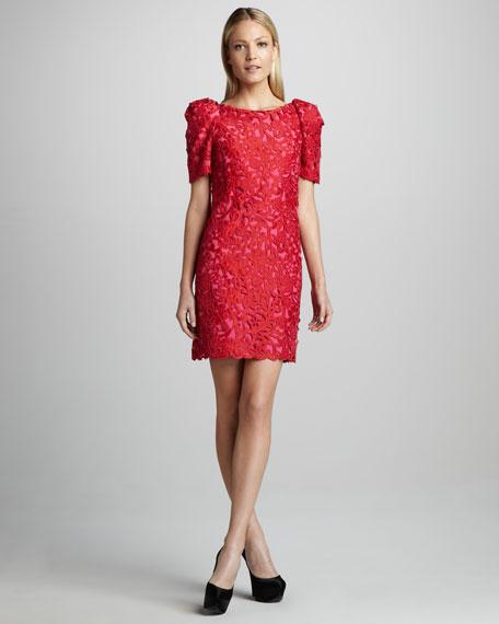 Puff-Sleeve Lace Dress