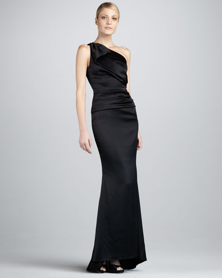 Ruched One-Shoulder Mermaid Gown