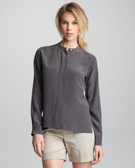 Long-Sleeve Silk Blouse
