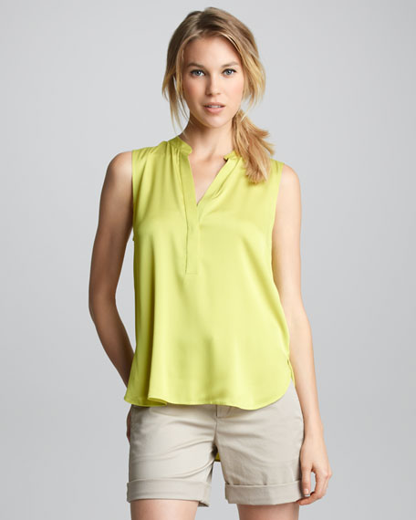 Sleeveless Half-Placket Blouse, Lime