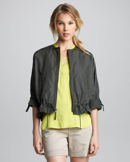 Drawstring-Waist Tech Jacket