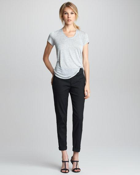 Stretch Straight-Leg Trousers, Black
