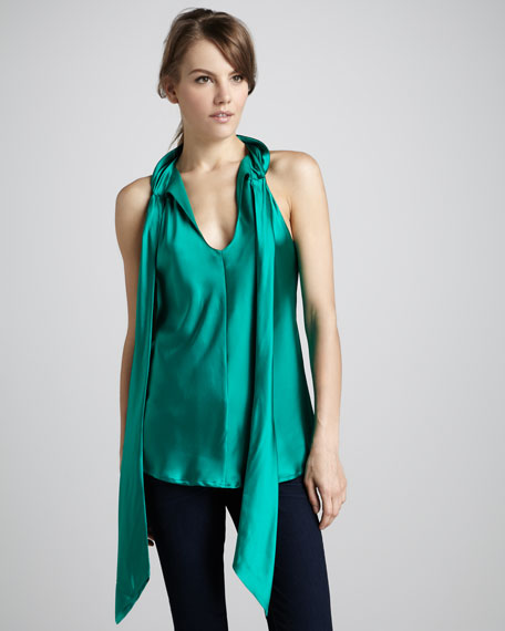 Paige Satin Tie-Neck Top