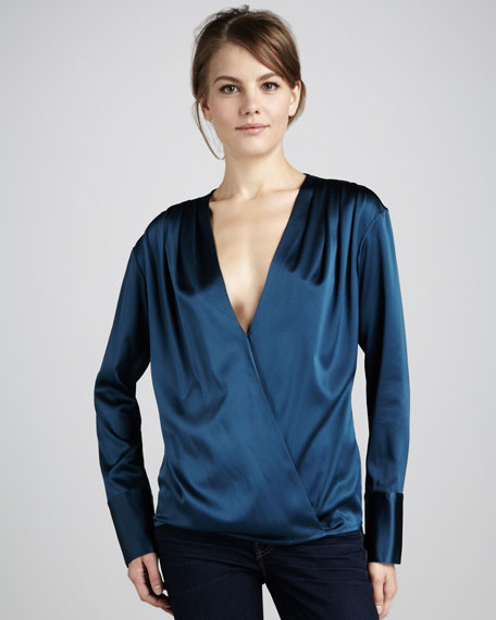 Brett Surplice Satin Blouse