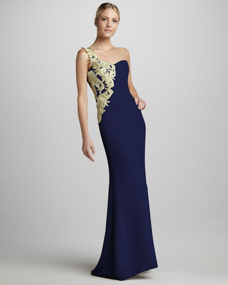 Embroidered One-Shoulder Column Gown