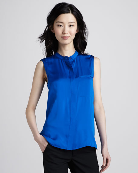 Sleeveless Charmeuse Blouse