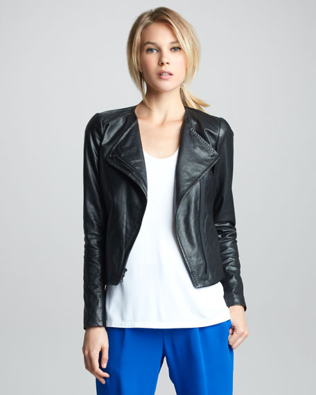 Zigzag-Trim Leather Jacket