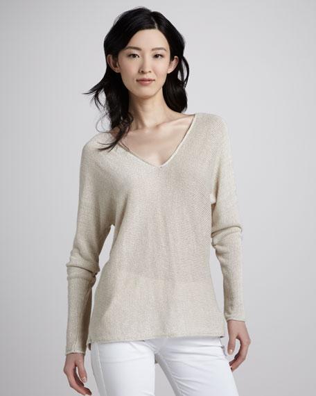 Knit V-Neck Linen Sweater, Parchment