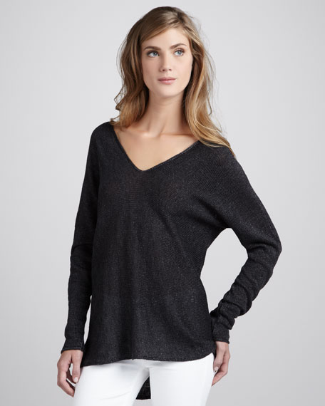 Knit V-Neck Linen Sweater, Black