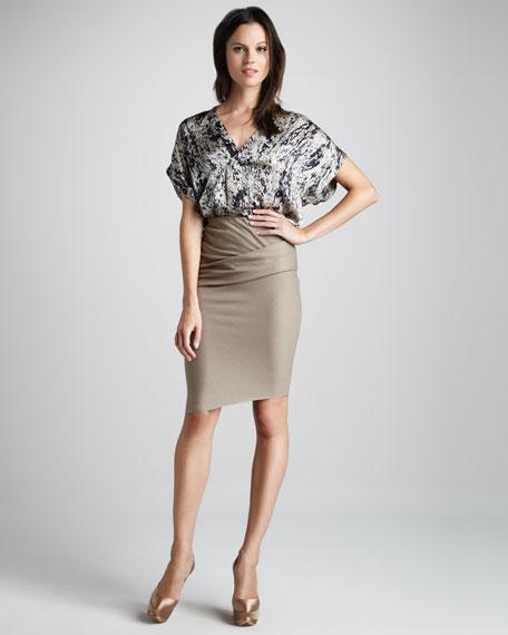 Folded Wool Pencil Skirt