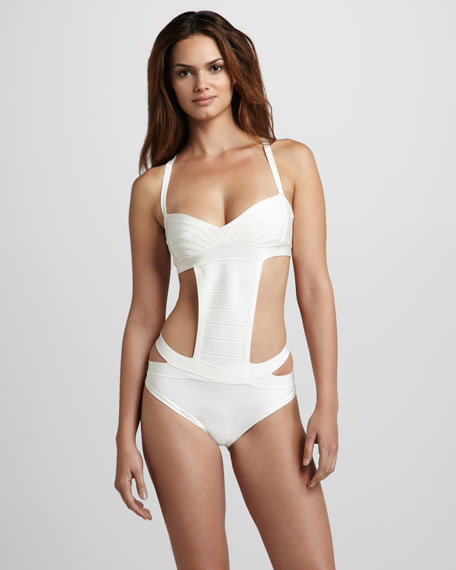 Side-Cutout One-Piece Bandage Swimsuit