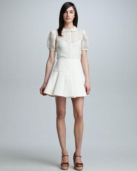 Paneled Pleated Skirt, Ivory
