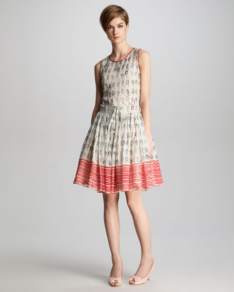 Knot-Print Georgette Dress