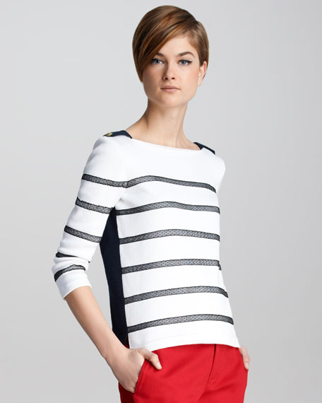 Lace-Stripe Knit Top